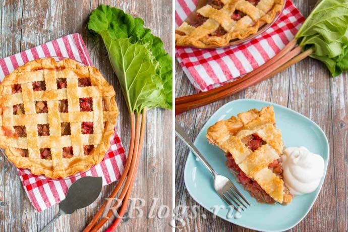 Фото пирога с клубникой и ревенем