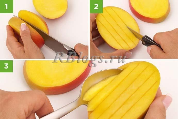 Способ разрезания манго ломтиками